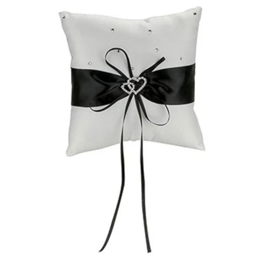 Ringkussentje - Wit - Zwart met fonkelende Hartjes-1