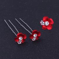 thumb-Zilverkleurige Hairpins – Rood - Bloem - Parel - Diamantjes - 5 stuks-2