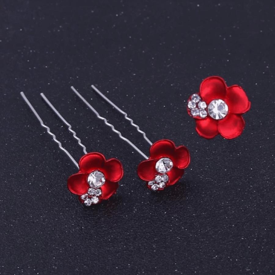 Zilverkleurige Hairpins – Rood - Bloem - Parel - Diamantjes - 5 stuks-2