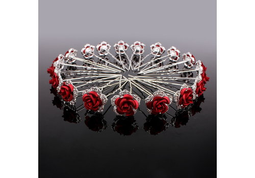 Zilverkleurige Hairpins – Rood - Bloem - Roos - Diamantjes - 2 stuks