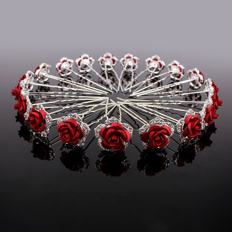 Zilverkleurige Hairpins – Rood - Bloem - Roos - Diamantjes - 2 stuks-1
