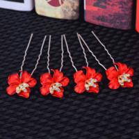 thumb-Zilverkleurige Hairpins – Bloem - Rood - Diamantjes - 2 stuks-2