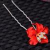 PaCaZa Zilverkleurige Hairpins – Bloem - Rood - Diamantjes - 2 stuks
