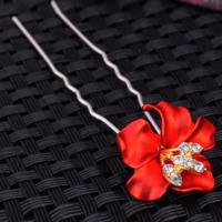 thumb-Zilverkleurige Hairpins – Bloem - Rood - Diamantjes - 2 stuks-1