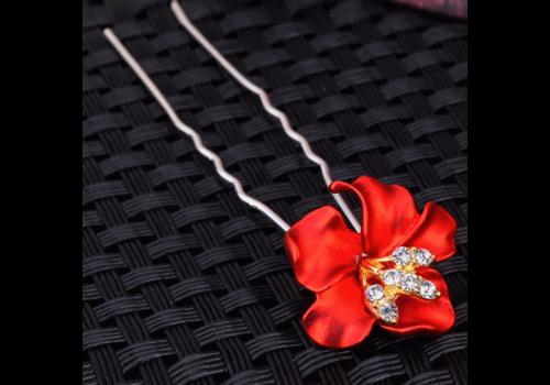 Zilverkleurige Hairpins – Bloem - Rood - Diamantjes - 2 stuks