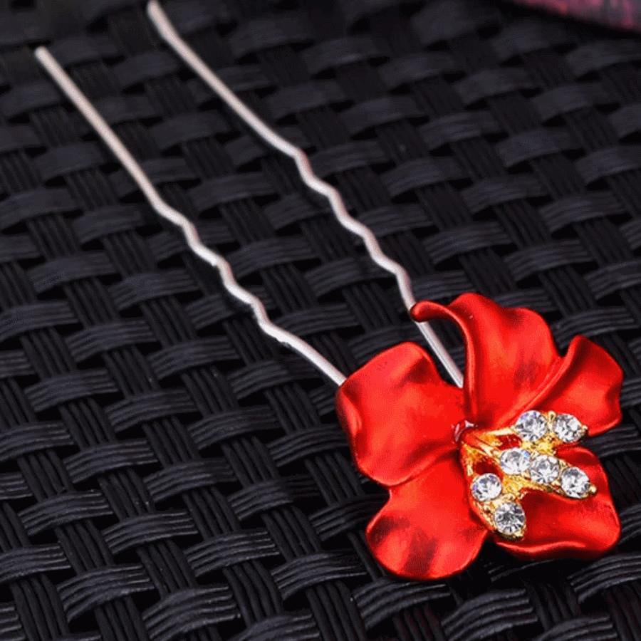 Zilverkleurige Hairpins – Bloem - Rood - Diamantjes - 2 stuks-1