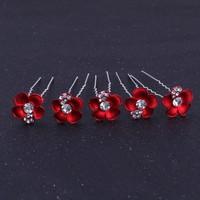 thumb-Zilverkleurige Hairpins – Rood - Bloem - Parel - Diamantjes - 5 stuks-1