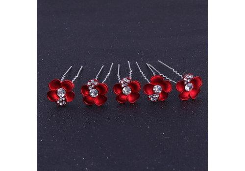 Zilverkleurige Hairpins – Rood - Bloem - Parel - Diamantjes - 5 stuks