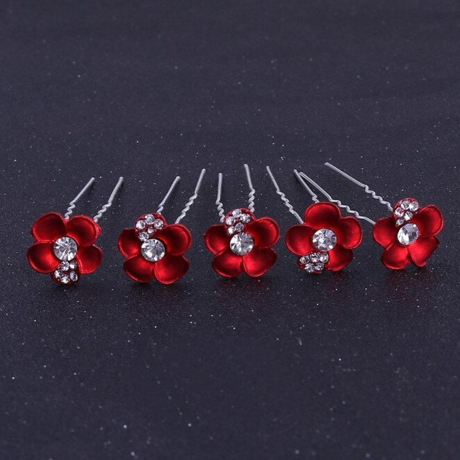 Zilverkleurige Hairpins – Rood - Bloem - Parel - Diamantjes - 5 stuks-1