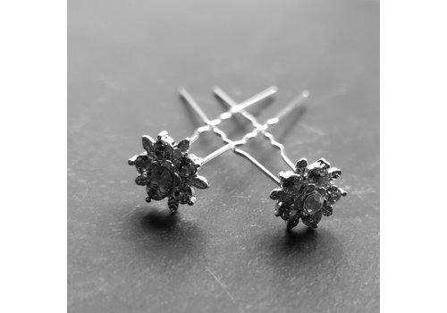 Zilverkleurige Hairpins – Flower - Diamantjes - 5 stuks