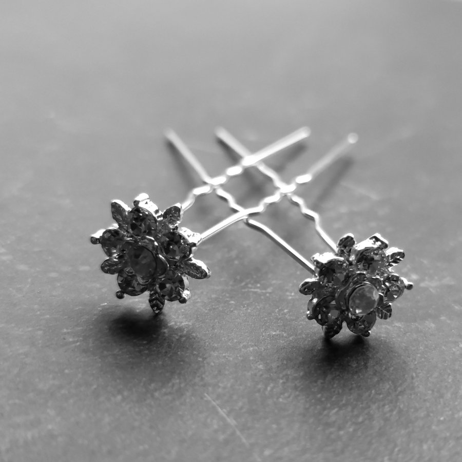 Zilverkleurige Hairpins – Flower - Diamantjes - 5 stuks-1