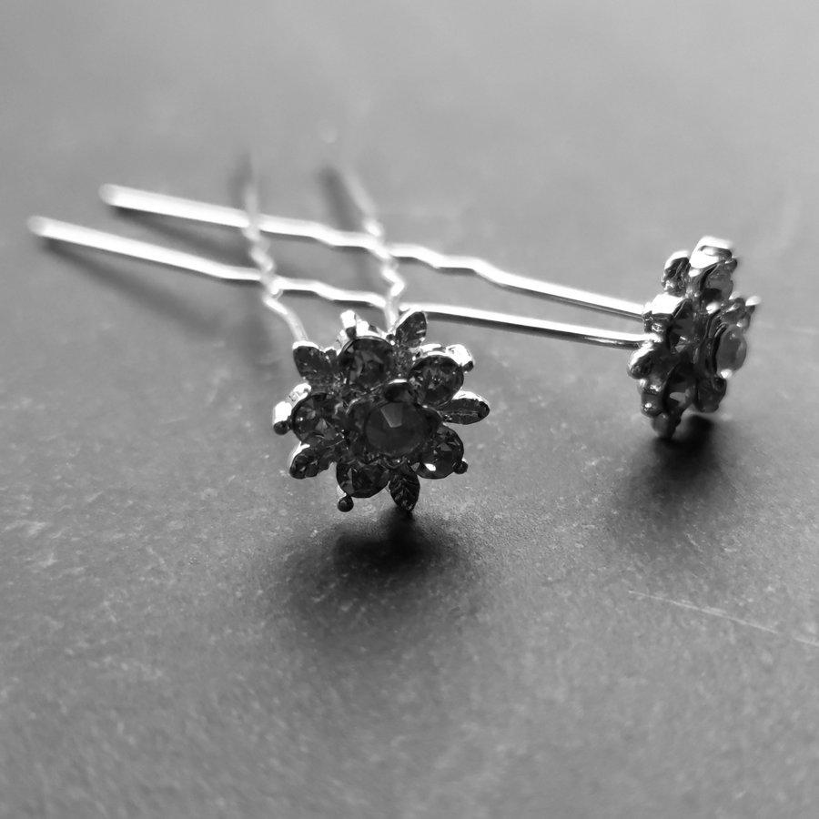 Zilverkleurige Hairpins – Flower - Diamantjes - 5 stuks-3