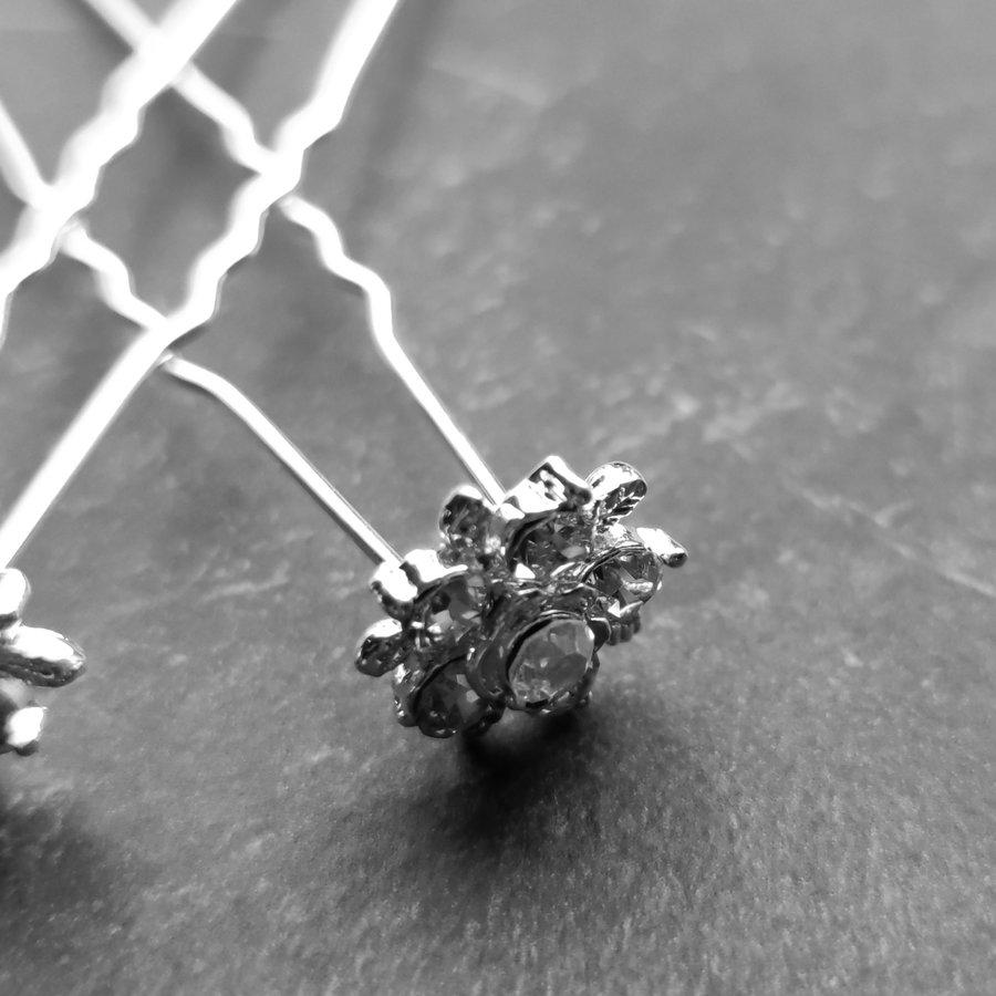 Zilverkleurige Hairpins – Flower - Diamantjes - 5 stuks-4