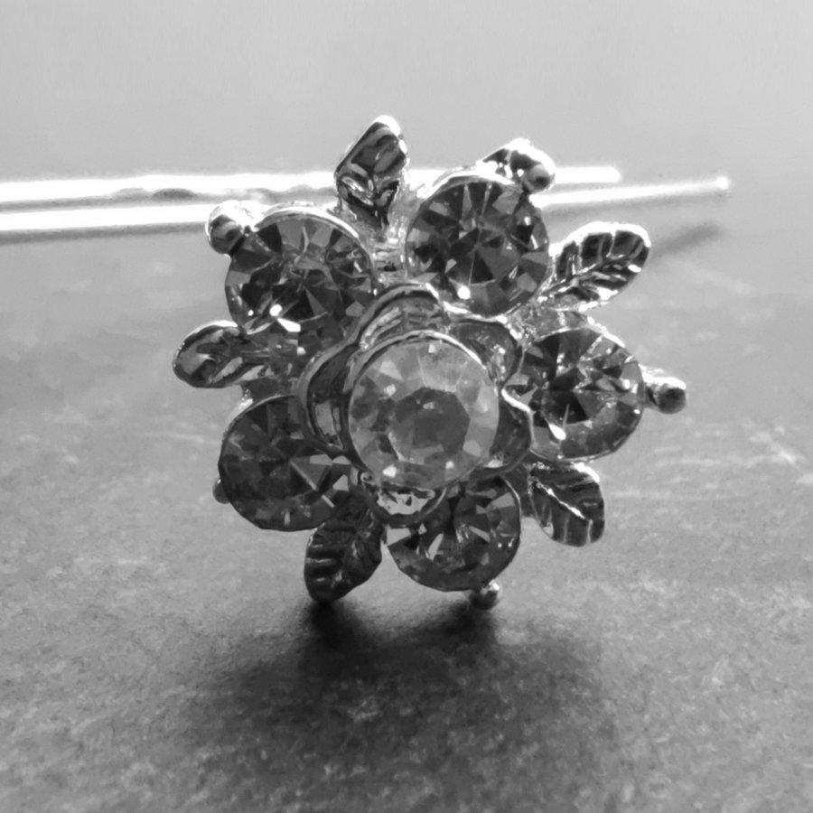 Zilverkleurige Hairpins – Flower - Diamantjes - 5 stuks-2