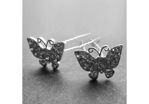 Zilverkleurige Hairpins –Vlinder - Diamantjes - 5 stuks