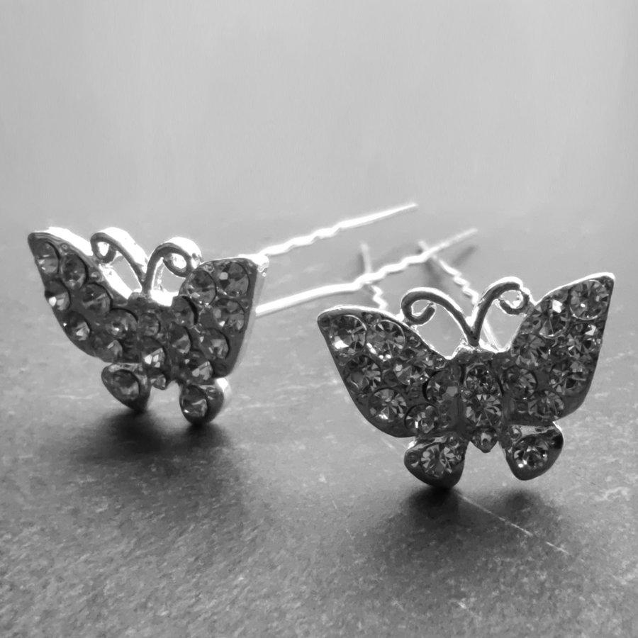 Zilverkleurige Hairpins –Vlinder - Diamantjes - 5 stuks-1