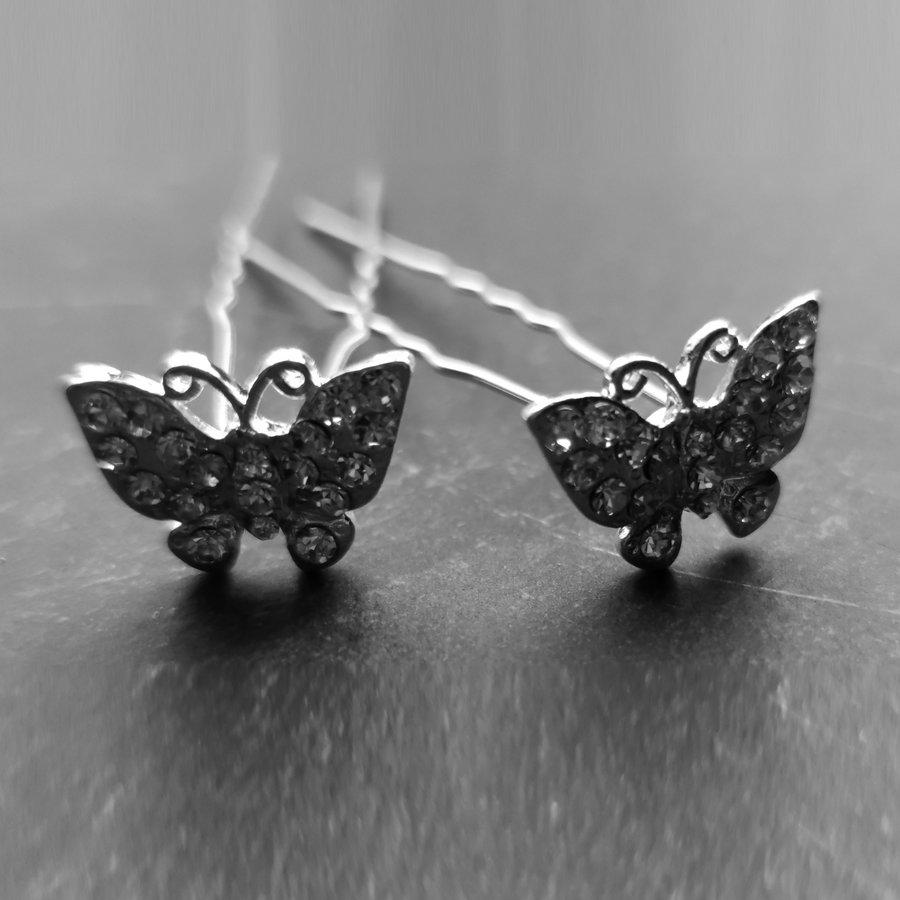 Zilverkleurige Hairpins –Vlinder - Diamantjes - 5 stuks-6