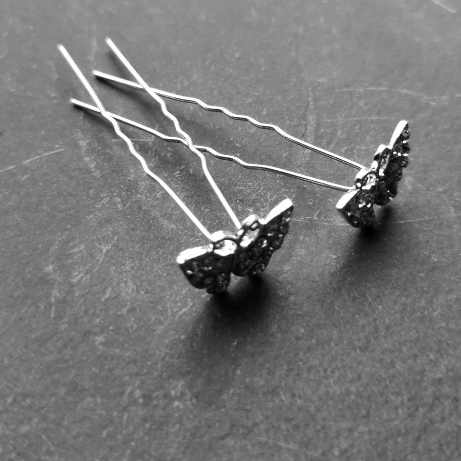 Zilverkleurige Hairpins –Vlinder - Diamantjes - 5 stuks-3