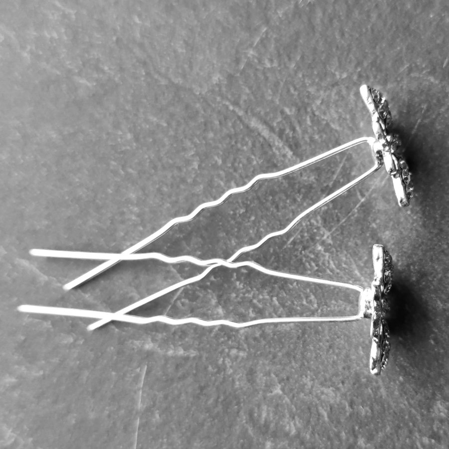 Zilverkleurige Hairpins –Vlinder - Diamantjes - 5 stuks-5