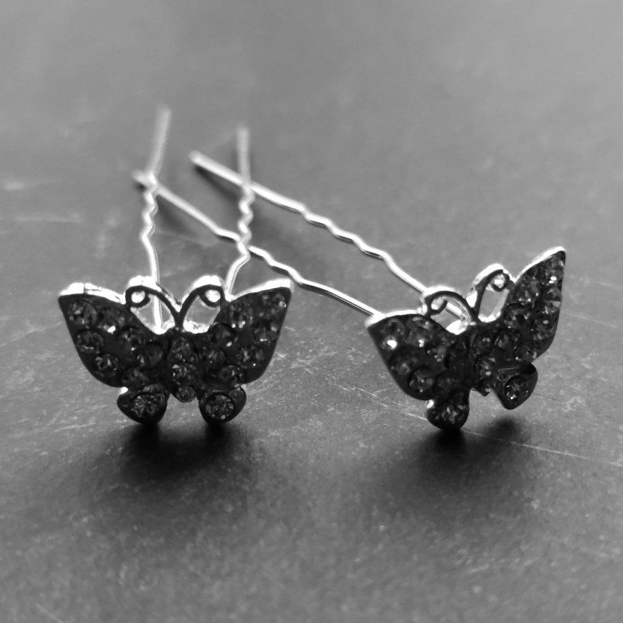 Zilverkleurige Hairpins –Vlinder - Diamantjes - 5 stuks-4