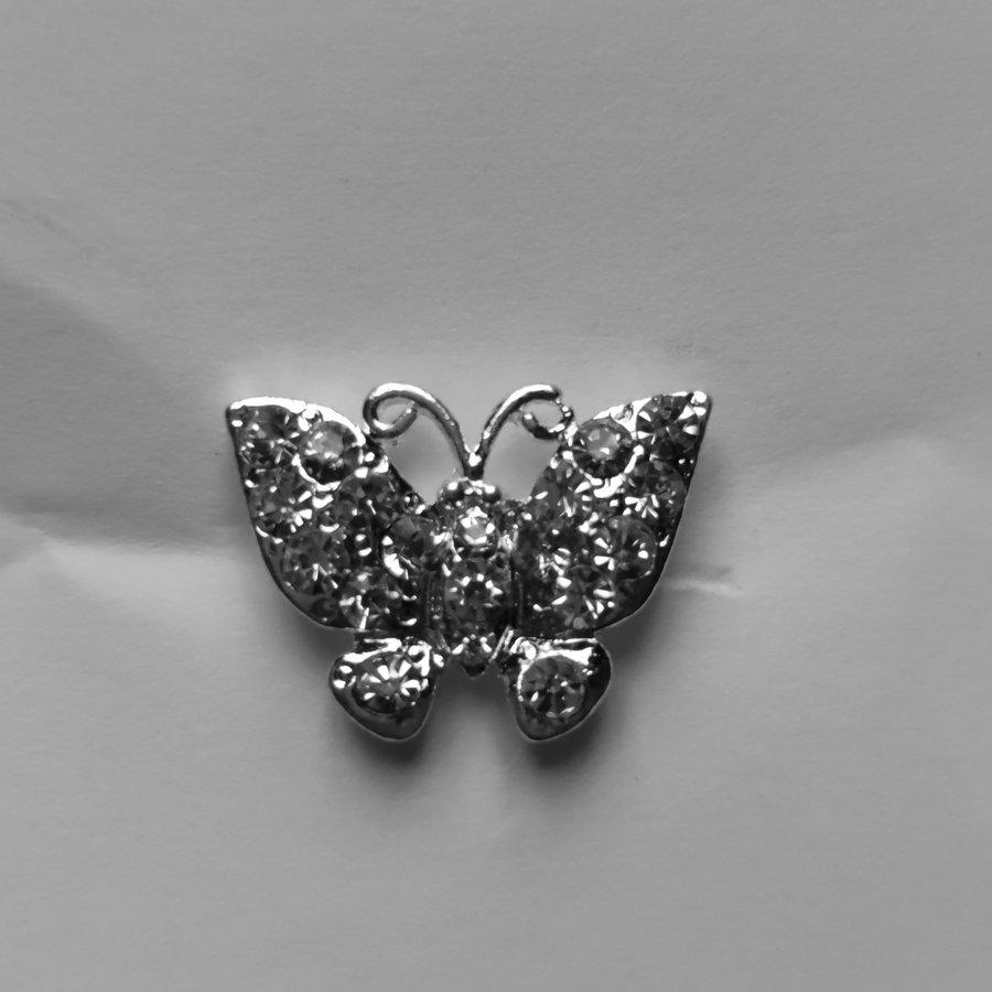Zilverkleurige Hairpins –Vlinder - Diamantjes - 5 stuks-2
