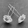 PaCaZa Zilverkleurige Hairpins – Flower - Wit - Diamantjes - 2 stuks
