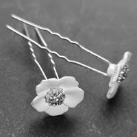 thumb-Zilverkleurige Hairpins – Flower - Wit - Diamantjes - 2 stuks-5