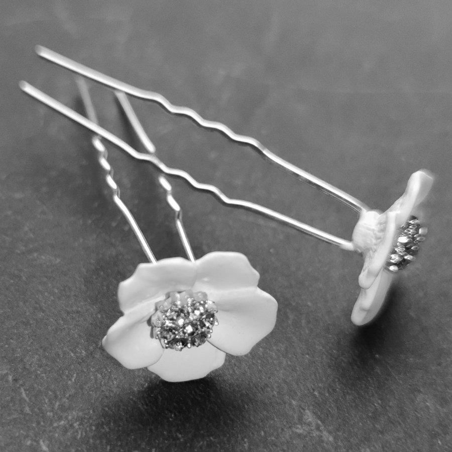 Zilverkleurige Hairpins – Flower - Wit - Diamantjes - 2 stuks-5