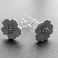 thumb-Zilverkleurige Hairpins – Flower - Wit - Diamantjes - 2 stuks-2