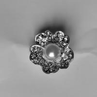 thumb-Zilverkleurige Hairpins – Flower met Ivoorkleurige Parel en Diamantjes - 5 stuks-4