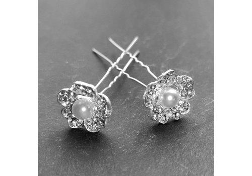 Zilverkleurige Hairpins – Flower met Ivoorkleurige Parel en Diamantjes - 5 stuks