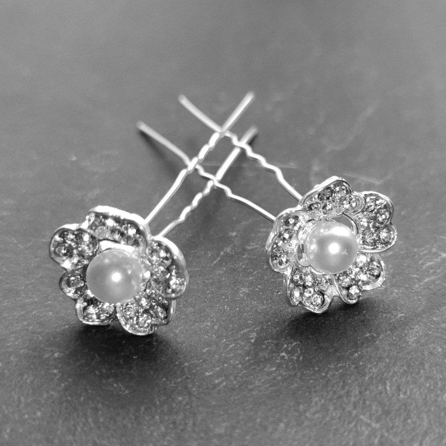 Zilverkleurige Hairpins – Flower met Ivoorkleurige Parel en Diamantjes - 5 stuks-1