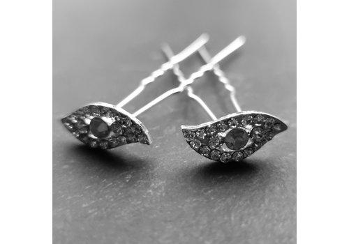 Moderne Zilverkleurige Hairpins met Diamantjes - Oog - 5 stuks