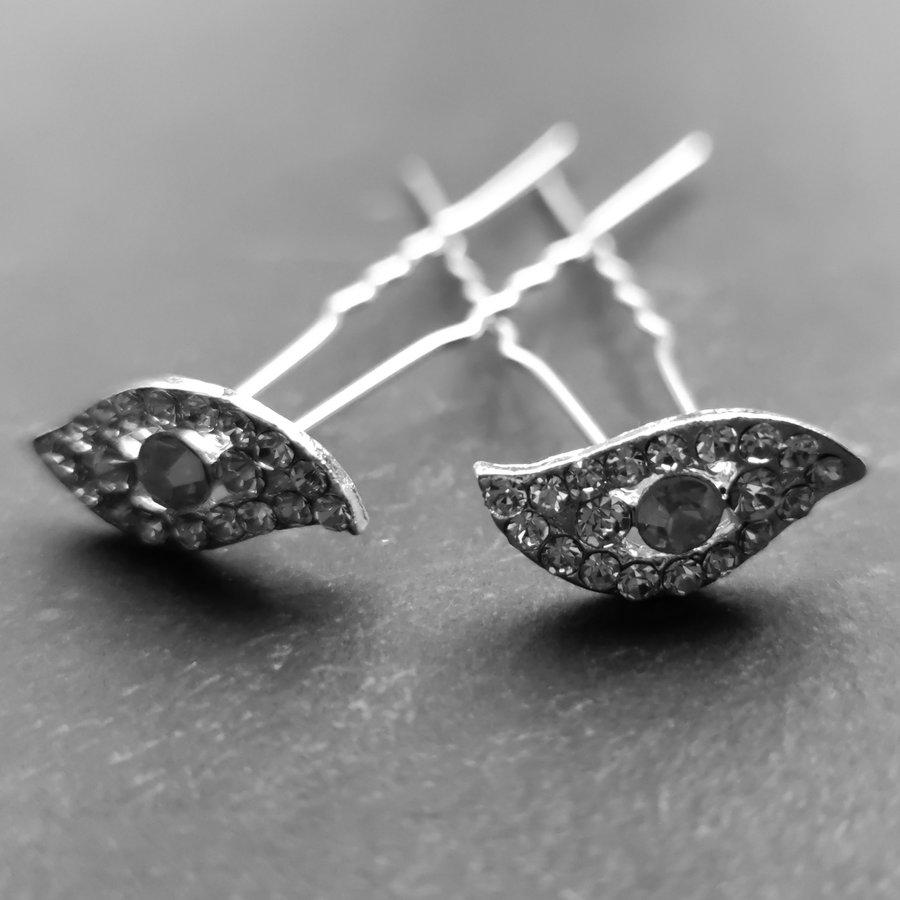 Moderne Zilverkleurige Hairpins met Diamantjes - Oog - 5 stuks-1