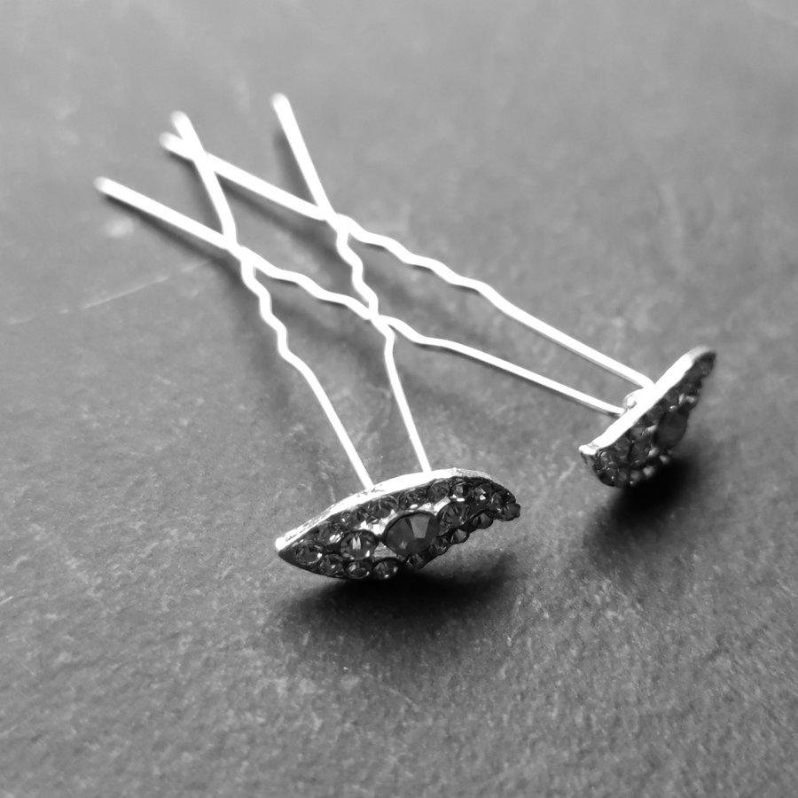 Moderne Zilverkleurige Hairpins met Diamantjes - Oog - 5 stuks-2