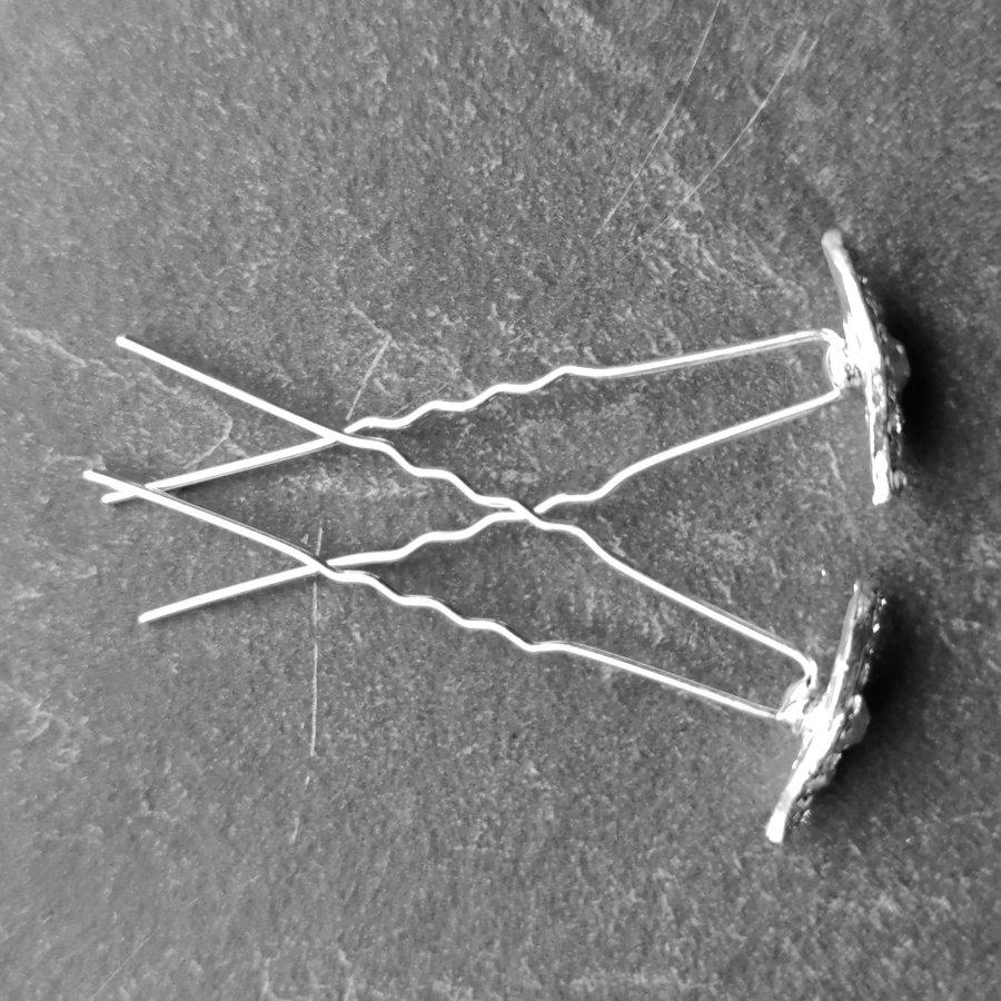 Moderne Zilverkleurige Hairpins met Diamantjes - Oog - 5 stuks-5