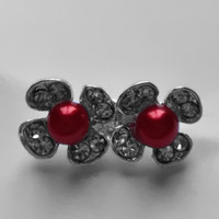 thumb-Zilverkleurige Hairpins - Bloemetjes - Diamantjes - Rode Parel - 5 stuks-3