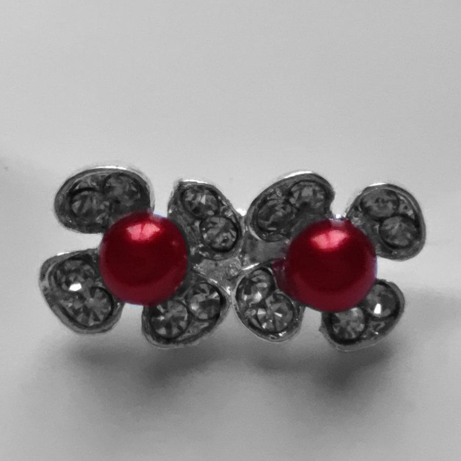 Zilverkleurige Hairpins - Bloemetjes - Diamantjes - Rode Parel - 5 stuks-3