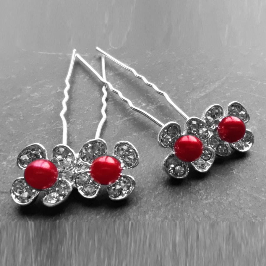 Zilverkleurige Hairpins - Bloemetjes - Diamantjes - Rode Parel - 5 stuks-5