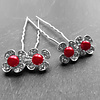 PaCaZa Zilverkleurige Hairpins - Bloemetjes - Diamantjes - Rode Parel - 5 stuks