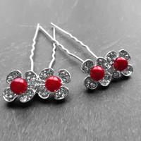 thumb-Zilverkleurige Hairpins - Bloemetjes - Diamantjes - Rode Parel - 5 stuks-1