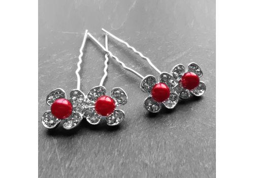 Zilverkleurige Hairpins - Bloemetjes - Diamantjes - Rode Parel - 5 stuks