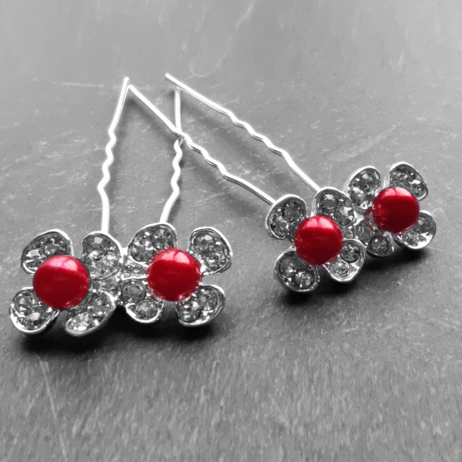Zilverkleurige Hairpins - Bloemetjes - Diamantjes - Rode Parel - 5 stuks-1