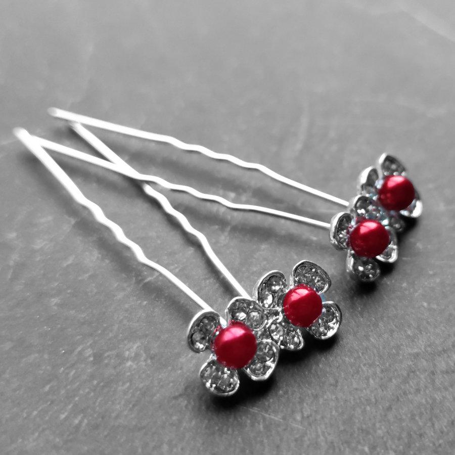 Zilverkleurige Hairpins - Bloemetjes - Diamantjes - Rode Parel - 5 stuks-2