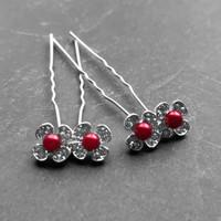 thumb-Zilverkleurige Hairpins - Bloemetjes - Diamantjes - Rode Parel - 5 stuks-4