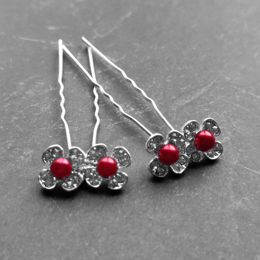 Zilverkleurige Hairpins - Bloemetjes - Diamantjes - Rode Parel - 5 stuks-4