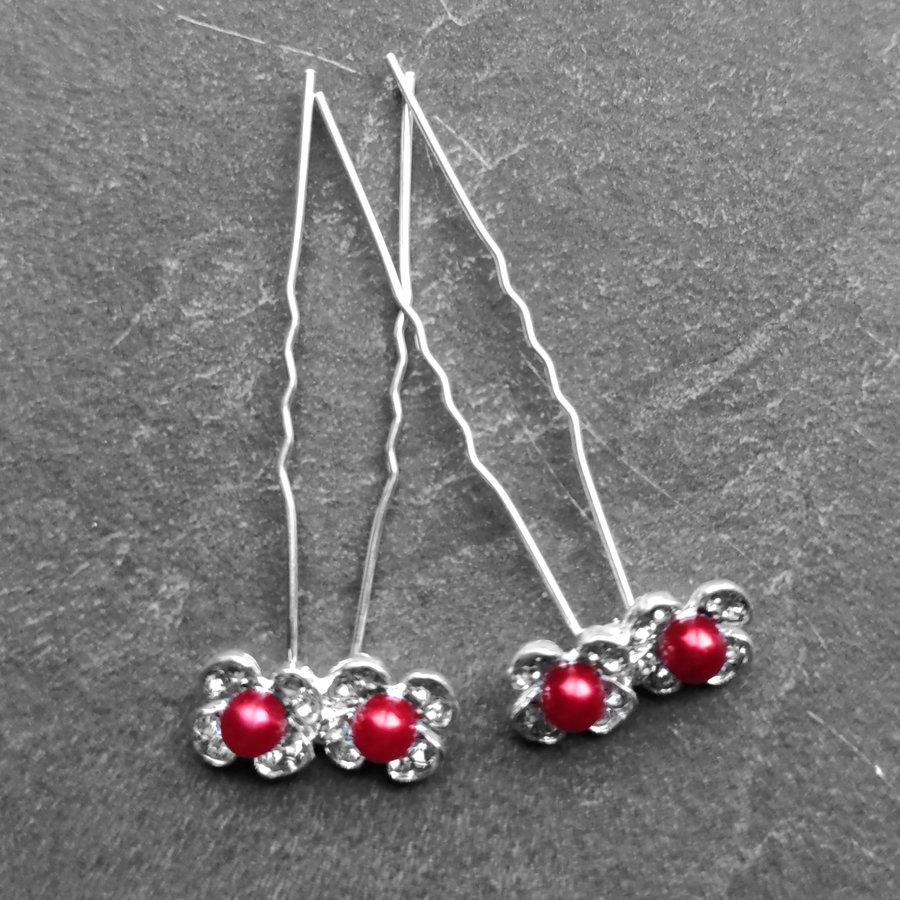 Zilverkleurige Hairpins - Bloemetjes - Diamantjes - Rode Parel - 5 stuks-6
