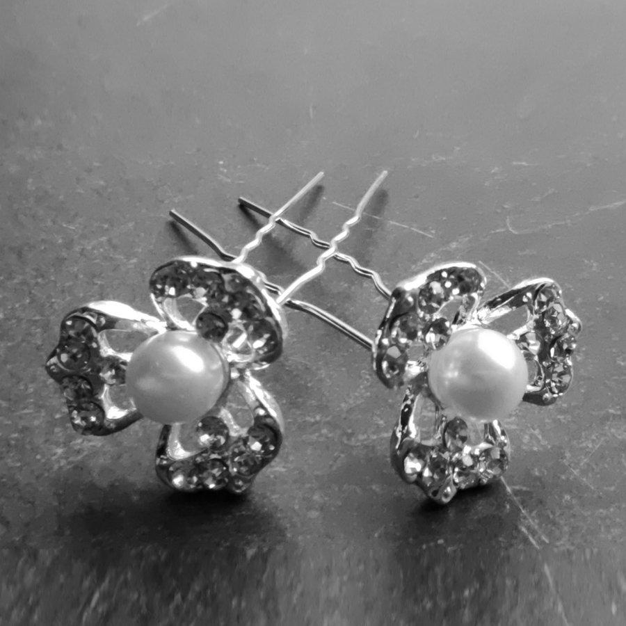 PaCaZa - Zilverkleurige Hairpins - Bloem met Ivoorkleurige Parel en Diamantjes - 5 stuks-3