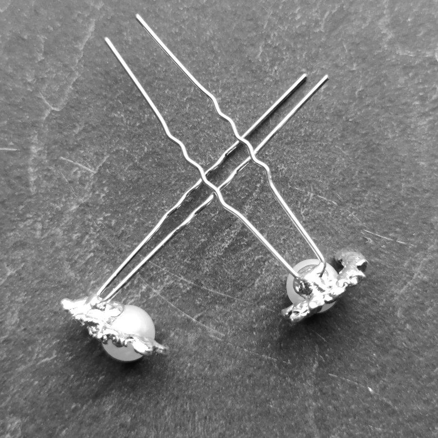 Zilverkleurige Hairpins – Lauwerkrans -  Ivoorkleurige Parel en Diamantjes - 5 stuks-6