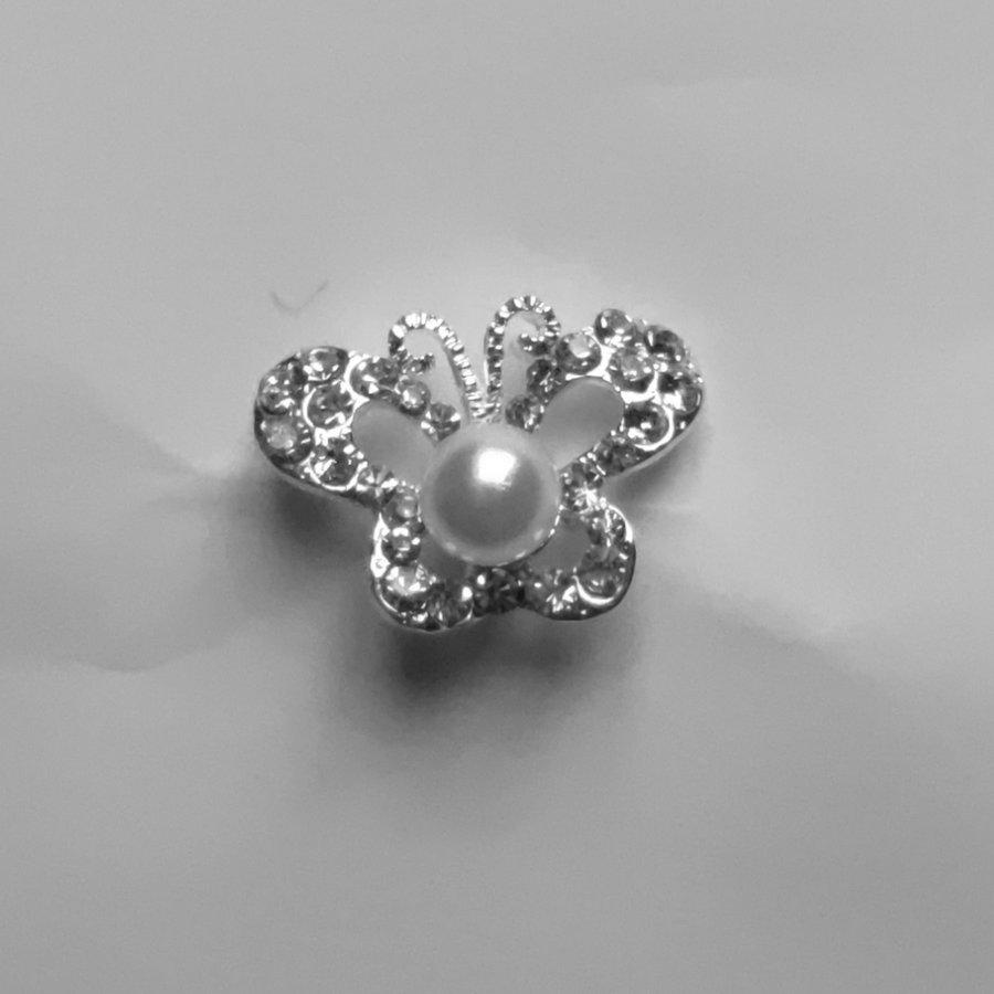 Zilverkleurige Hairpins – Butterfly - Diamantjes en Ivoorkleurige Parel - 5 stuks-6